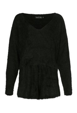 Black Premium Fluffy Knit Shorts Co-Ord