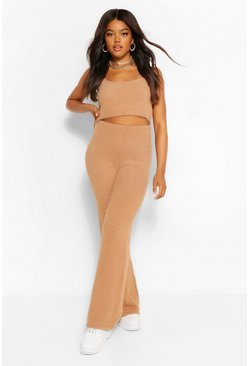 Camel Premium Fluffy Crop And Trousers Co-Ord