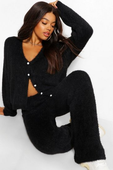 Black Premium Fluffy Cardigan Coord