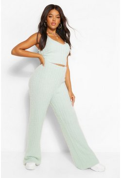Sage green Premium Fluffy Rib Knit Two-Piece