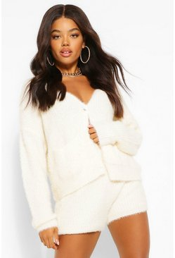 Ivory white Premium Fluffy Knit Cardigan Coord