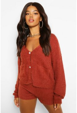 Mahogany brown Premium Fluffy Knit Cardigan Co-Ord
