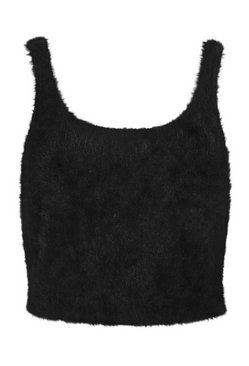 Black Premium Fluffy Knit Top