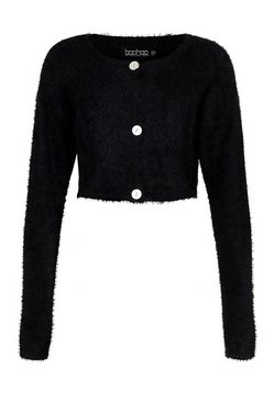 Black Premium Fluffy Knit Crop Cardigan