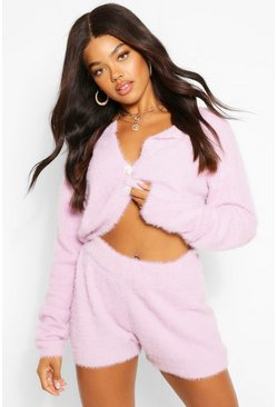 Lilac purple Premium Fluffy Knit Crop Cardigan