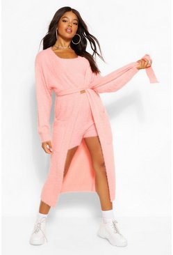 Blush pink Premium Fluffy Knit Maxi Cardigan