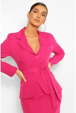 Bright pink pink Tailored Tie Waist Blazer