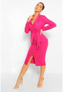 Tailored Split Front Pencil Skirt, Bright pink