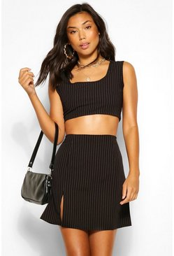 Pinstripe Crop Top, Black