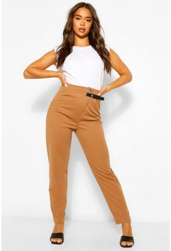 Camel beige Tailored Relaxed Buckle Pants
