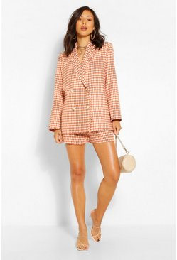 Rust orange Dogstooth Boucle Longline Blazer