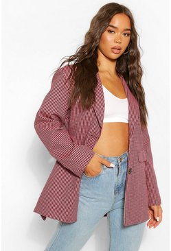 Red Mini Dogtooth Oversized Belted Blazer