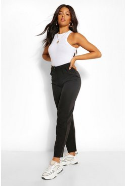 Black Tailored Pleat Detail Relaxed Trouser