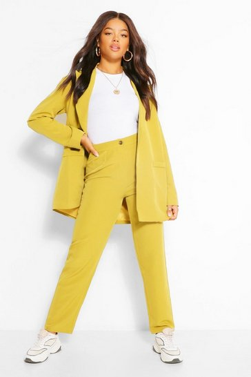 Chartreuse yellow Tailored Pleat Detail Relaxed Trouser