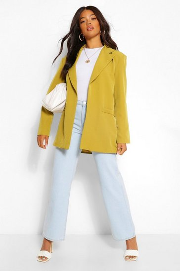 Chartreuse yellow Tailored Longline Edge To Edge Blazer