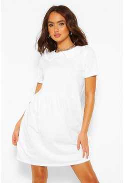 White Frill Collar Cotton Mix Smock Dress