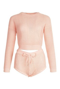 Apricot Waffle Knit Shorts Co-ord