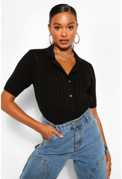 Black Chunky Rib Collar Short Sleeved Cardigan