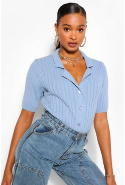 Blue Chunky Rib Collar Short Sleeved Cardigan