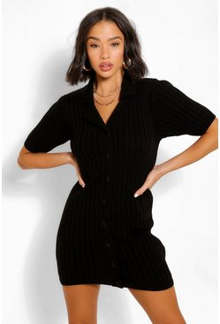 Black Chunky Rib Collar Knitted Dress