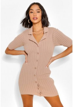 Stone Chunky Rib Collar Knitted Dress