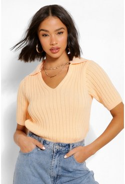 Apricot Chunky Rib Collar Short Sleeve Jumper