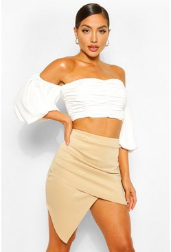 Taupe beige Ruched Wrap Front Asymetric Mini