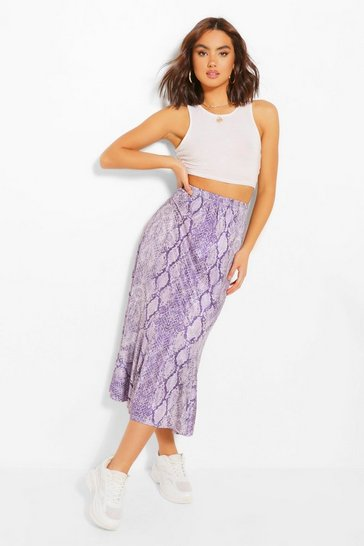 Lilac purple Snake Print Drop Hem Floaty Midi Skirt