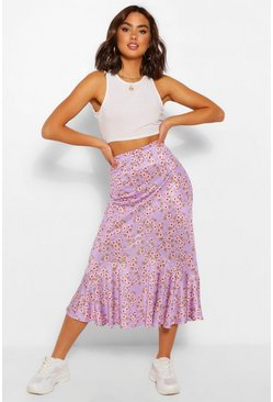 Lilac purple Floral Drop Hem Floaty Midi Skirt