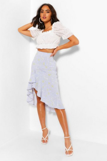 Powder blue Ditsy Floral Ruffle Front Midi Skirt