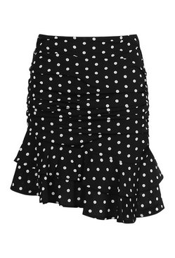Black Ruched Side Polka Dot Mini