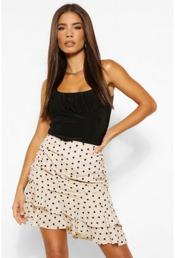 Ivory Ruched Side Polka Dot Mini