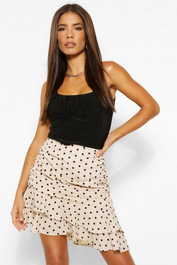 Ivory white Ruched Side Polka Dot Mini