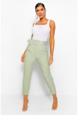 Sage Belted Tailored Straight Leg Trouser