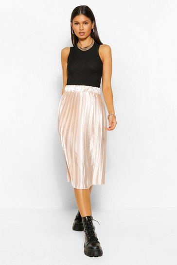 Oyster white Satin Pleated Woven Floaty Skirt