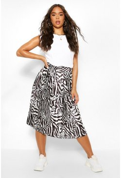 Black Zebra Print Pleated Woven Floaty Skirt