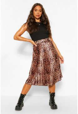Black Leopard Print Pleated Woven Floaty Skirt
