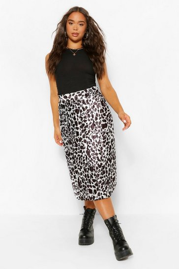 Black Mono Leopard Pleated Woven Floaty Skirt