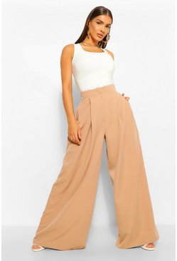 Beige Oversized Super Wide Leg Tailored Trousers