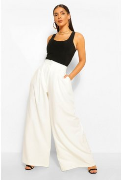 Ecru white Oversized Super Wide Leg Tailored Trousers
