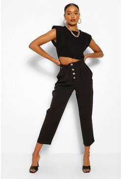 Black Button Front Paperbag Waist Woven Trousers