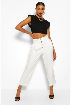 Ecru white Button Front Paperbag Waist Woven Trousers
