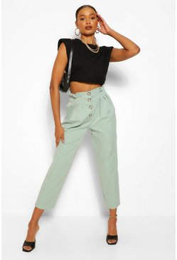 Sage green Button Front Paperbag Waist Woven Trousers