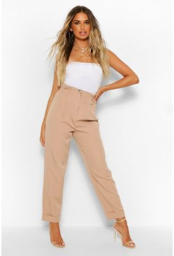 Beige High Waist Pleated Straight Leg Woven Trousers