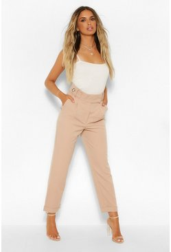 Beige Pleat Front Turn Up Straight Leg Woven Trousers