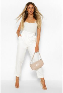 Ecru white Pleat Front Turn Up Straight Leg Woven Trousers