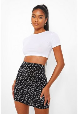 Black  Ditsy Floral Jersey Mini Skirt