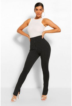 Black Pinstripe Split Hem Long Line Slim Fit Trousers
