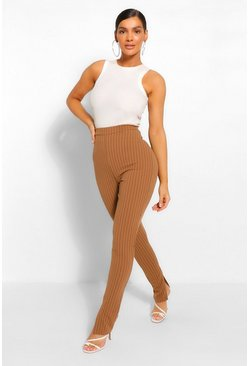 Camel beige Pinstripe Split Hem Long Line Slim Fit Trousers