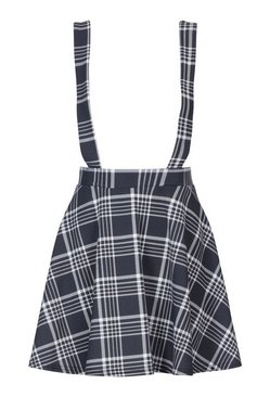 Black Tonal Check Pinafore Flippy Skirt